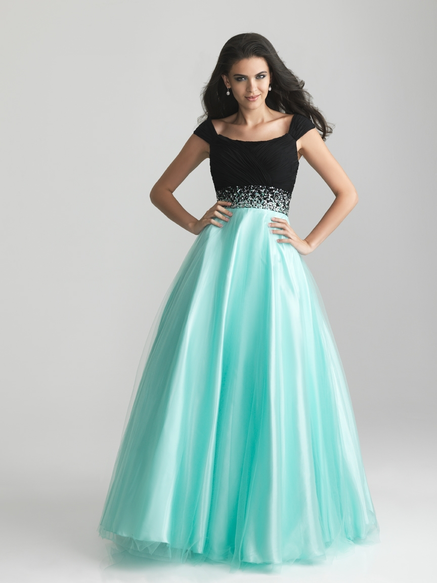 Custom Made Elegant Black And Blue Tulle Ball Gown Modest Prom ...