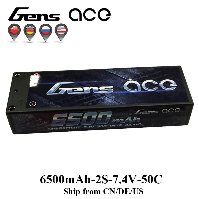 Gens ace Lipo Battery 2S 6500mAh 6800mAh Lipo 7.4V Battery Pack 50C 1/10 1/8 Scale for Traxxas Slash 4x4 RC Car Deans Plug