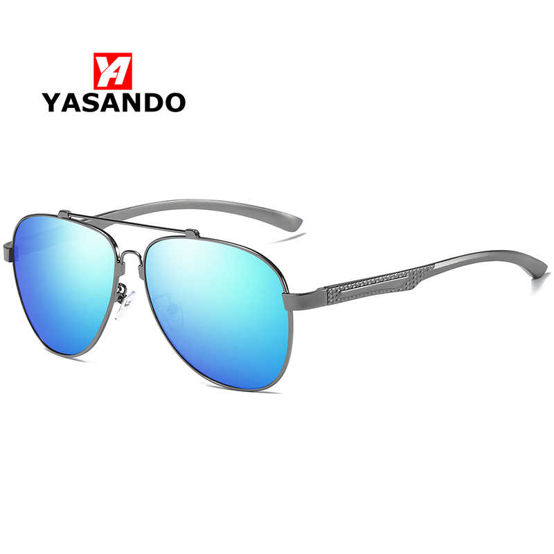 Men's Polarized Sunglasses Memory Frame YASANDO Luxury Brand Classical Pilot Driving Eyewear UV400 Male All-fit Sun Glass XY130