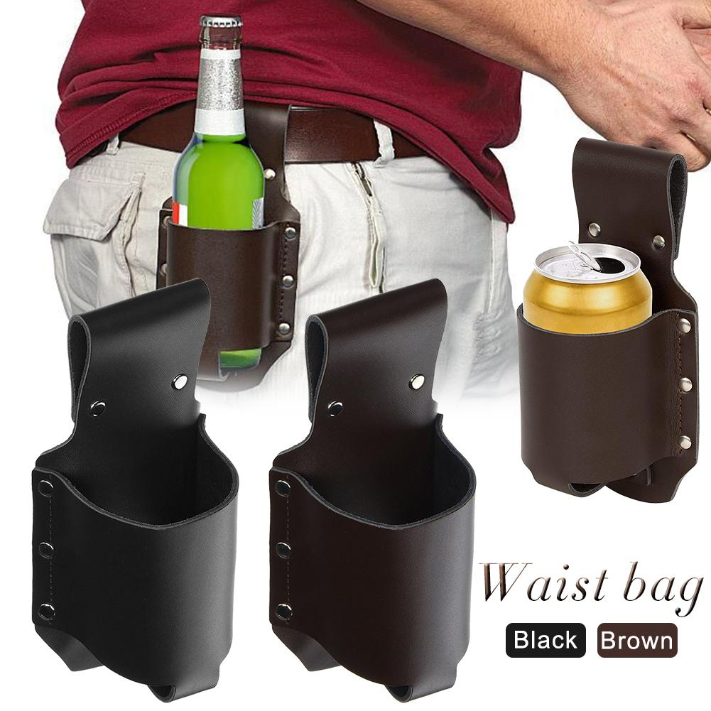 Outdoor Mountaineering Beer Waist Packs Pocket Belt Beer Bottle Cover Waist Pack Bag For Men PU Leather Fanny Pouch Hanging Bags