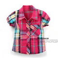 new 2015 summer style girls clothes children Short sleeve plaid shirts baby girls Casual blouses kids clothing cardigan jacket