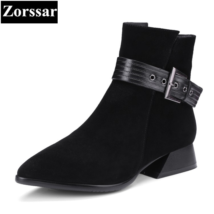 Фотография {Zorssar} 2018 NEW Arrival kid Suede Women Short Boots Low heel ankle pointed Toe Martin boots big size women shoes winter boots