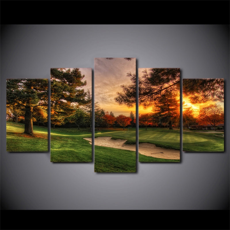 Modular Pictures Wall Art Canvas Painting Prints 5 Pieces Golf Course Trees Sunset Landscape Poster Room Home Decor Frame PENGDA 1