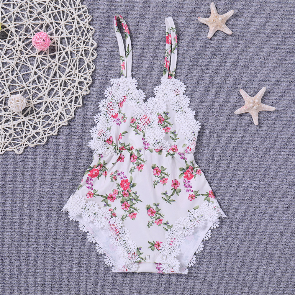 Girl Kids Fashion Floral Baby Clothing BodysuitsOne Pieces Funny Girl Baby Cloth Condole Belt Floral Cute Handmade Onesies