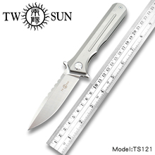 TWOSUN  d2 blade folding Pocket Knife tactical knives camping knife hunting outdoor tool Titanium Ball Bearing Fast Open TS121