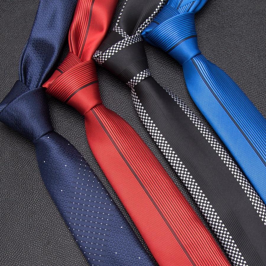Mens Tie Fashion Jacquard Skinny Ties for Men England Striped Luxury Tie Accessories Business Man Wedding Dress Slim Neck Tie