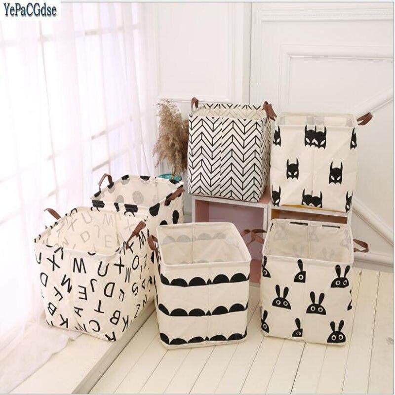 Desktop Storage Box Houseold Folding Cotton and linen Storage Basket pattern Toys Organizer Boxes Home Decor