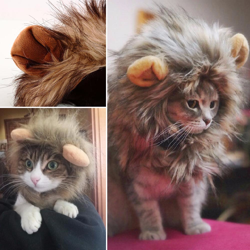 Pets Hat Costume Cat Dog Halloween Role Play Furry Clothes Fancy Hair Dress Up Lion Mane Wig For Dogs Festival Dress Up With Ear fishtail braid with hair accessory