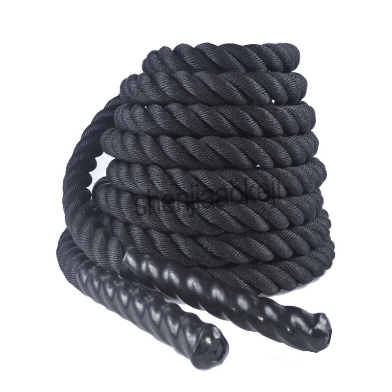 Heavy Black Undulation Battling Rope Physical Body Strength Training Sport Fitness Exercise Workout Strong-Toyers  1pc