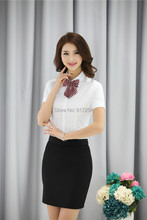 Formal Uniform Style Office Ladies Business Women Suits 2015 Summer Professional Work Wear Blouses And Skirt