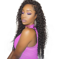 Deep Wave 360 Lace Frontal Closure Pre Plucked With Adjustable Band 10 20 Brazilian Virgin Hair
