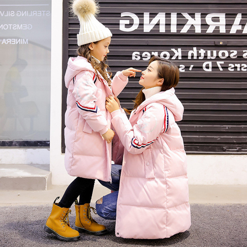 Family Matching Outfits Mother Kids Winter Duck Down Jacket Long Sleeve Warm Hooded Outerwear Matching Clothes H0081