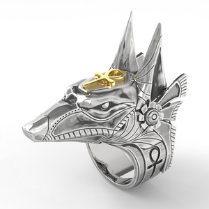 316L stainless steel ring men's creative Egypt Anubis god and cross knight ring punk stainless steel jewelry size 8 to 15(China)