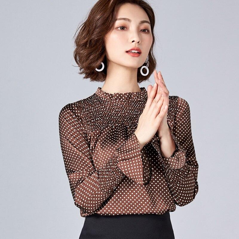 2d21af8a864 Для женщин печати Chiffion блузка рубашка 2018 сезон  весна–лето новые  модные женские Повседневное элегантный Flare рукавом Тонкий Рубашки для мал.