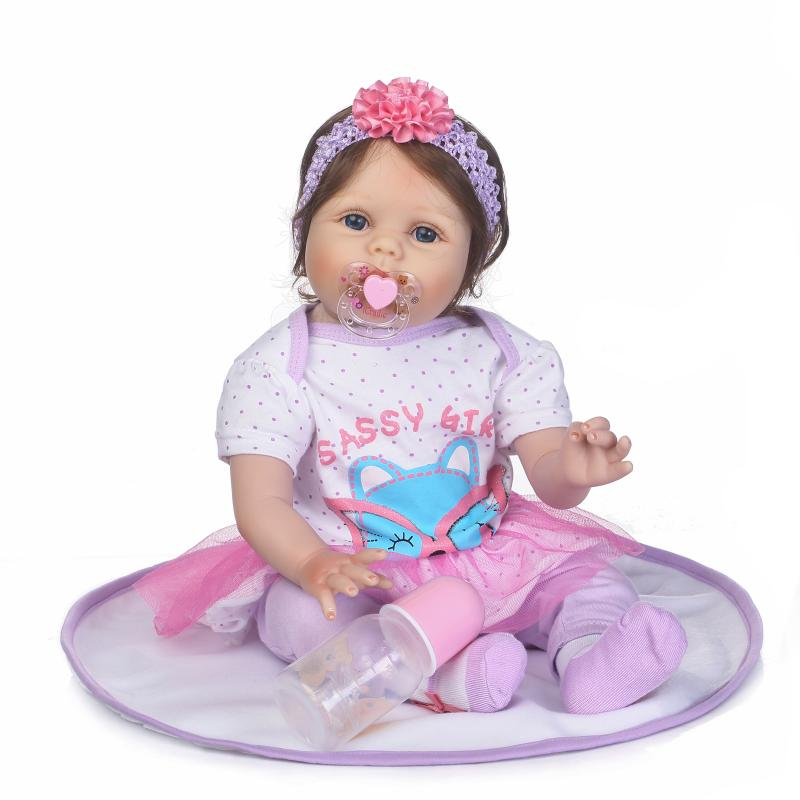 55cm Soft Silicone Reborn Babies Dolls Toy Rooted Hair Newborn Princess Girl Baby Doll For Kids Girls Brinquedos Lovely Birthday