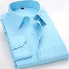 Dimi iş erkekler resmi sosyal gömlek tam kollu elbise gömlek düzenli fit kolay bakım erkek giyim göğüs cebi ile