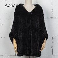 Aorice vt7025 норки жилеты 2017 Новый бренд женщин реального норки Меховые пальто Зимние теплые пальто платки мыс халат большие размеры