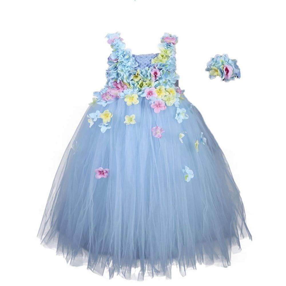 Hydrangea Ankle Length Toddler Girl Wedding Party Dress Blue Princess Flower Girls Clothes Kids for Weddings Junior Girls Dress (8)