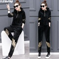 2Pcs Velvet Women Sets Thick Warm 2016 Winter Autumn Eagle embroidery Hoodie Sweatshirts and Pants Casual Ladies Suits A150-2