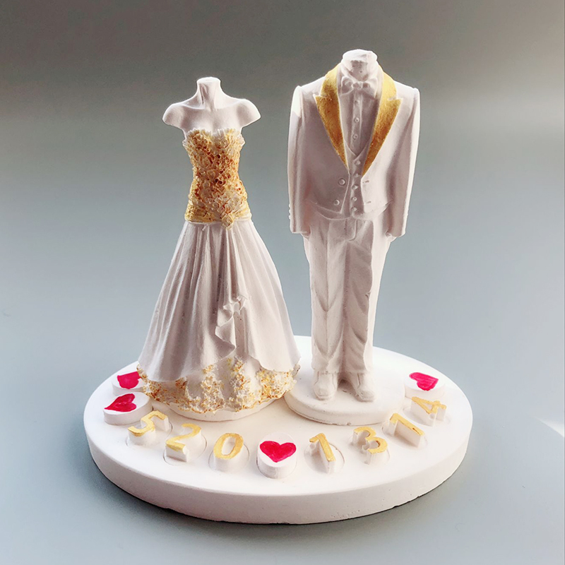 Kerze-zubehör Mode Bräutigam Braut Mould Europäischen Hochzeit Kleid Verbreitung Stein Anhänger Aromatherapie Gips Kerze Form Braut Bräutigam Form Schrecklicher Wert