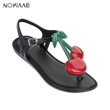 Melissa Cherry 2019 New Women Flat Sandals Shoes For Jelly Female Adulto Mulher