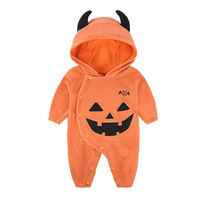Boy Halloween Costume Baby Pumpkin Bat Rompers Girl Warm Christmas Clothes Set Newborn Hooded Jumpsuit Personality