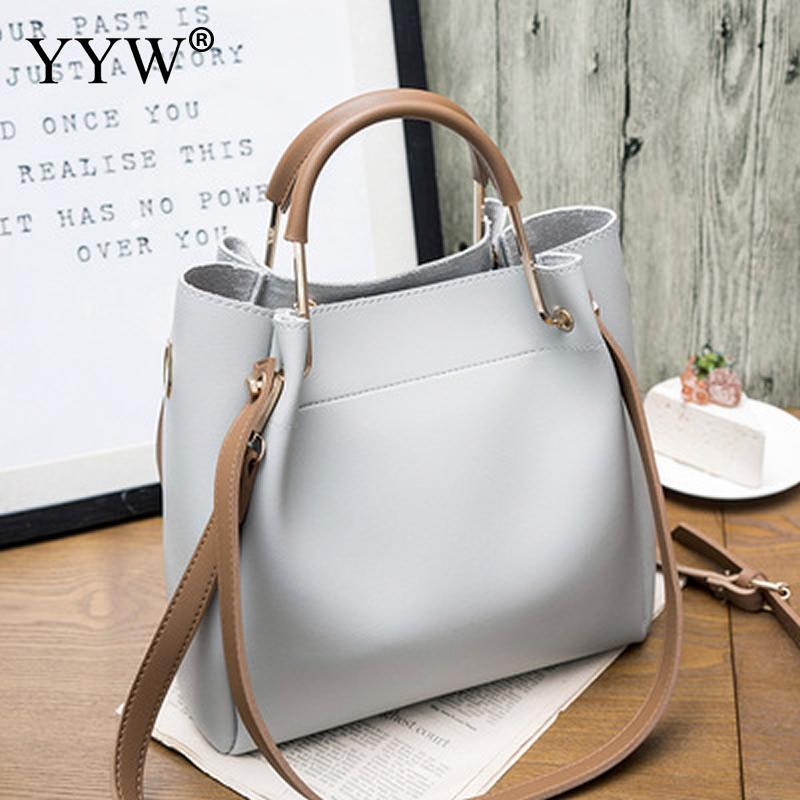 Solid Soft PU Leather Female Shoulder Bag Women'S Bucket Handbags Light Grey Tote Bags For Women 2018 Designer Top-handle Bag 4