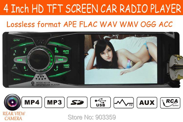 Car Stereo Radio 12V REAR VIEW 4.0'' HD TFT MP5 Player AUX/SD/USB/FM 5V Charger MP3/MP4/Audio/Video/Car Electronics 1 DIN