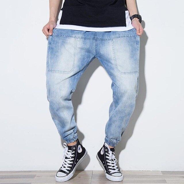 fb7f357139 Yehan verano Denim Jeans Jogger para los hombres la cintura con cordón de  ajuste azul suelta