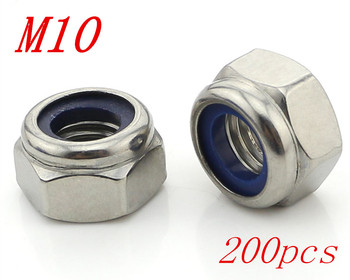 Metric M10 304 Stainless Steel Hex Head Nylon Insert Lock Jam Stop Nuts 200pcs/Lot Free Shipping