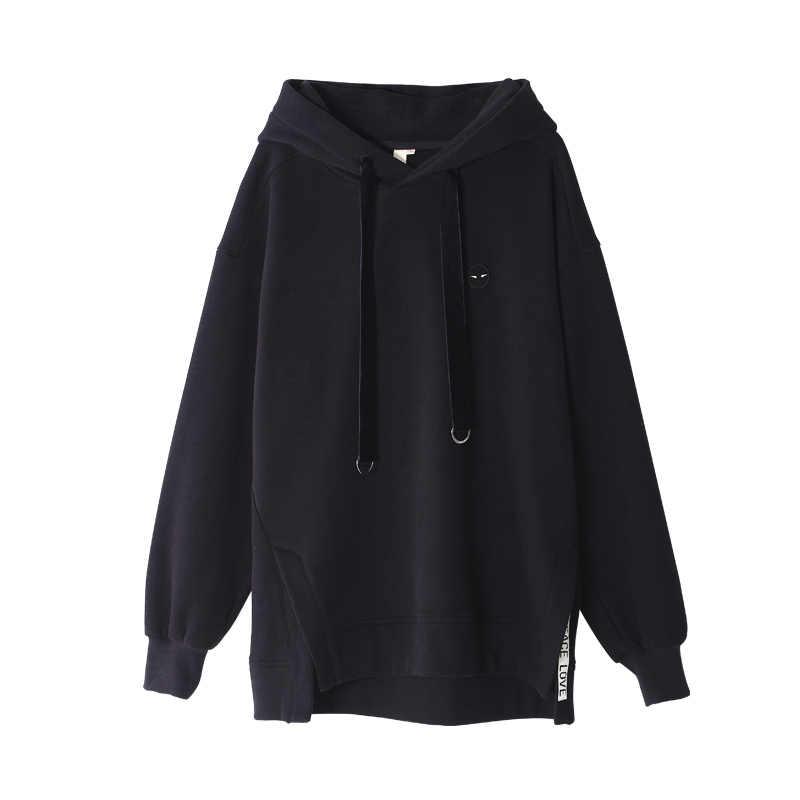 Toyouth Schwarz Sweatshirts für Frauen Herbst Casual Stickerei Lose Freund Stil Fleece Pullover Weibliche Grün Hoodies