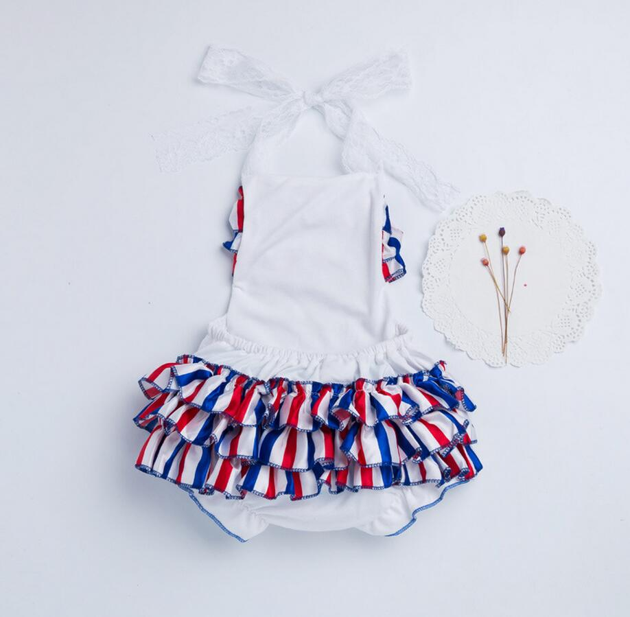d193b5f93630 2PC Baby Girl Satin Cotton Blue Red White Striped Lace Romper Summer Cool  Clothes Infant Newborn Girl Clothes with Bow Headband-in Rompers from  Mother ...