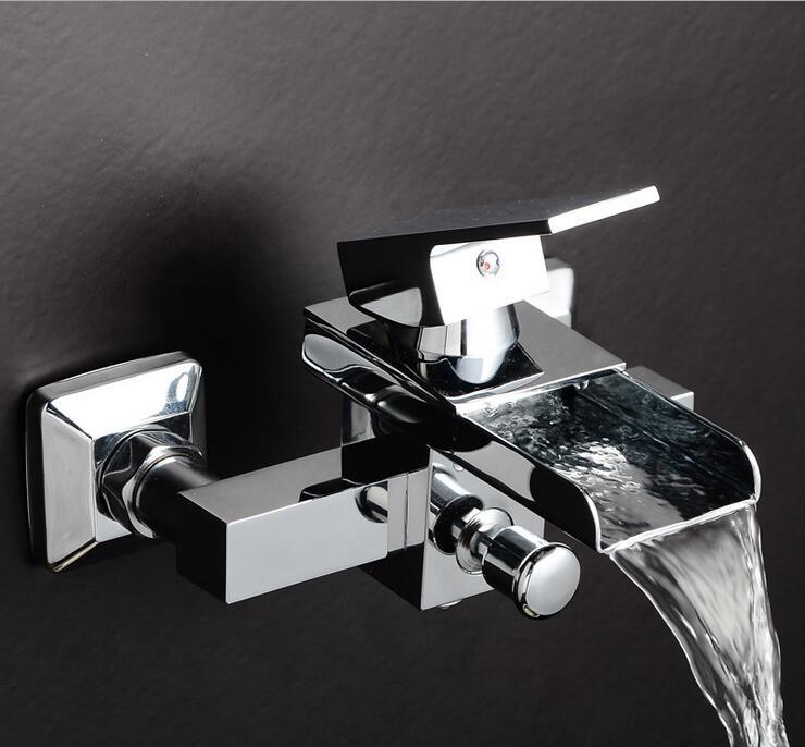 Single handle wall mounted waterfall bathtub faucet, Bathroom ...