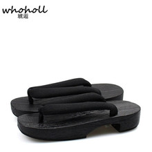 купить WHOHOLL wooden flip flops slippers Japanese Geta Summer Sandals Women Flat Wooden Clogs Shoes Geisha Geta Flip-flops Shoes дешево