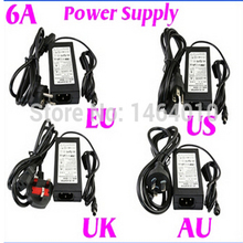 120 см 6A 12 в США ЕС Великобритания AU шнур питания трансформатор для RGB белый 5050 3528 Светодиодные полосы света Рождественское украшение