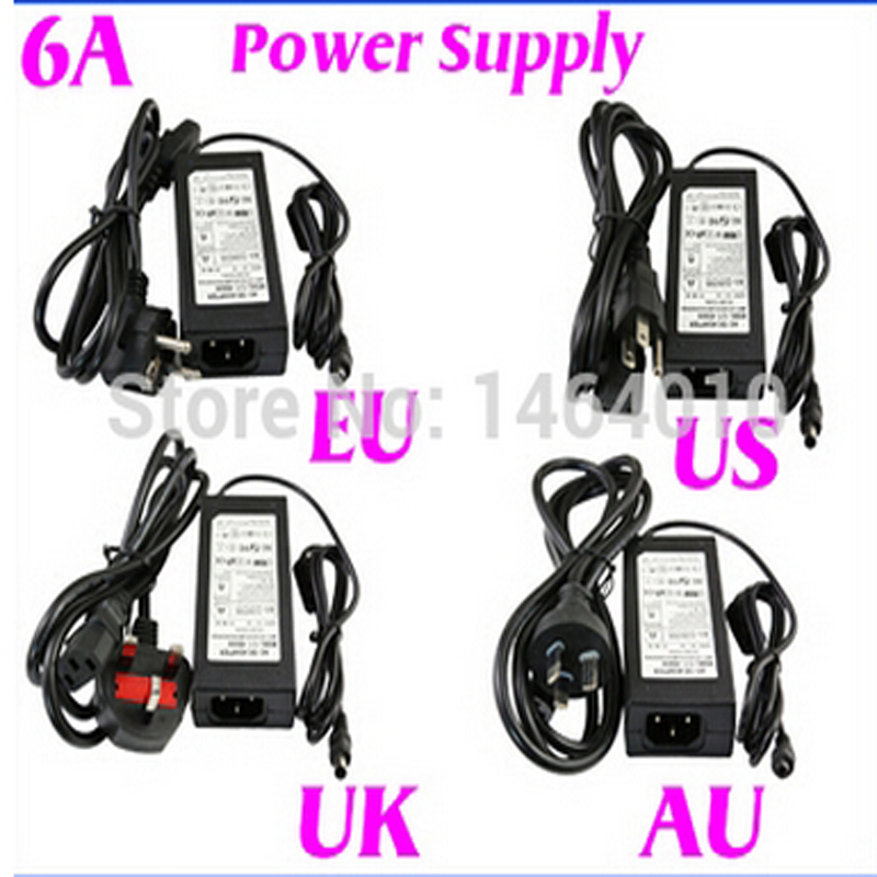 120CM 6A 12V US EU UK AU Cord Plug Power Supply Transformer For RGB White 5050 3528 LED  ...