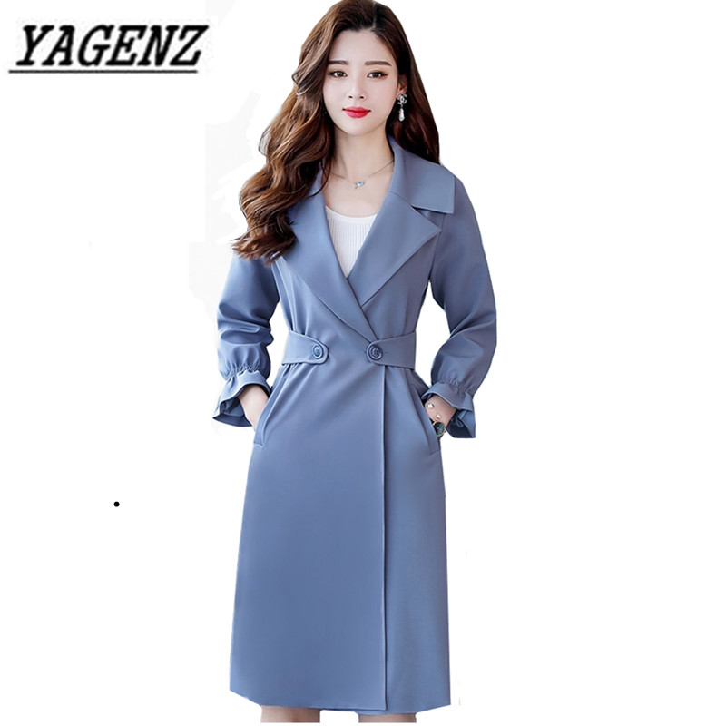 2018 Spring Autumn Women   Trench   Coat Plus size 4XL Elegant Slim Lapel Long Windbreaker Solid Casual Female Coat Brand Clothing