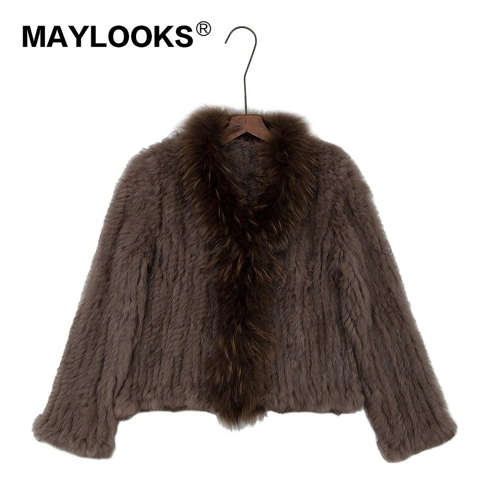 MAYLOOKS véritable tricoté femmes lapin raton laveur manteau veste trench vêtements d'extérieur Parka russie hiver chaud manteaux CS124