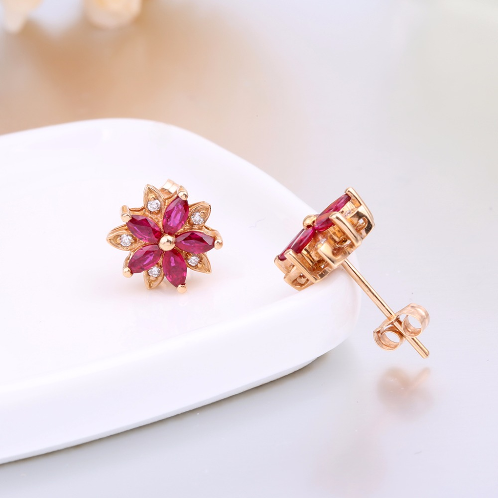 gold stud jewelry earring from ruby women red with item robira for trendy natural wholesale rose earrings fine burma wedding in