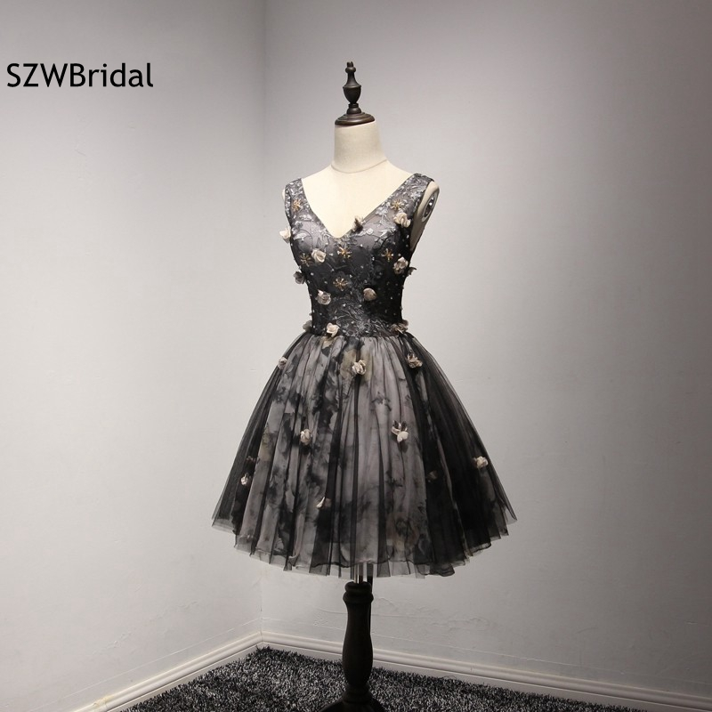 New Arrival V Neck Black Short   Cocktail     dresses   2018 Vestido de festa curto Sexy   dress   robe   cocktail   Vestidos de coctel