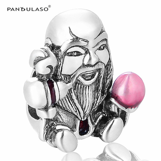 Buddha With Pink Peach Charms DIY Jewelry Making for Women Fashion 925 Sterling Silver Jewelry Fit Pan Brand Charm Bracelets