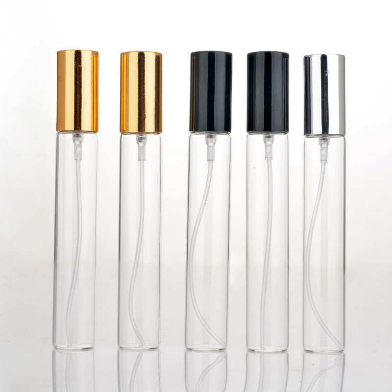 Купить с кэшбэком 10ps 5ml 10ml 15ml Clear Mini Sample Refillable Perfume Spray Glass Atomizer Bottle With Black Golden Silver Lid