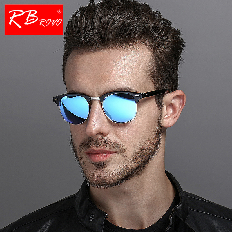 RBROVO 2019 Semi-Rimless Brand Designer Sunglasses Women/Men Polarized UV400 Classic