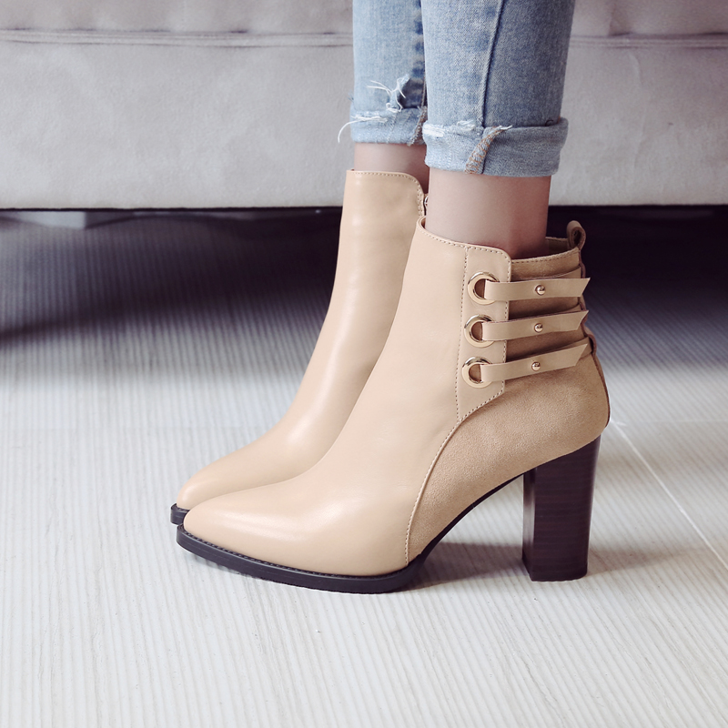 ФОТО Women's Winter Thick High Heel Pointed Toe Ankle Boots Brand Designer Buckle Winter Genuine Leather Short Booties Shoes Women