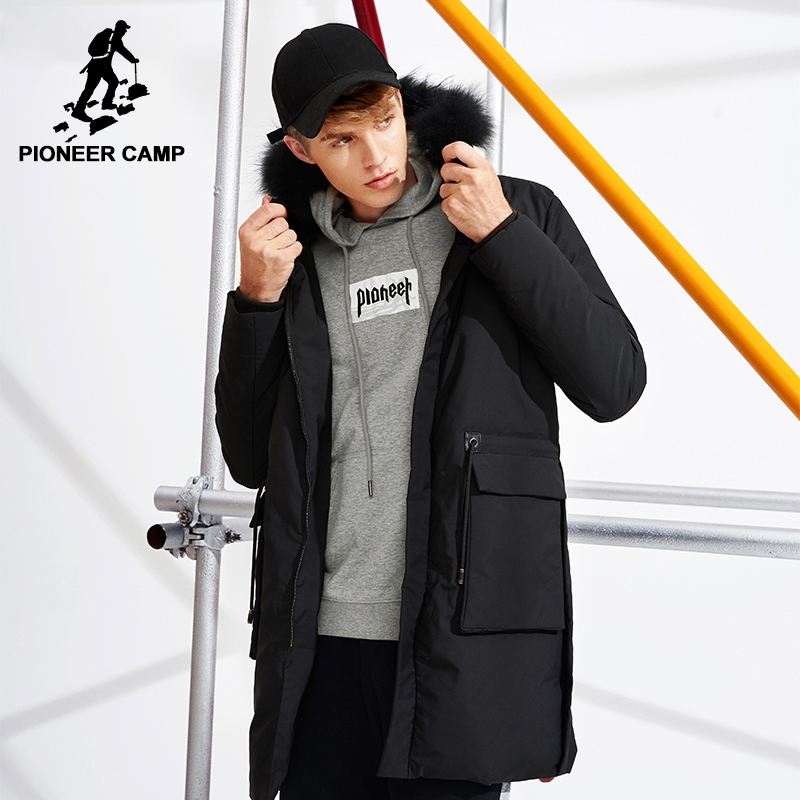 Camp pionnier 2018 Nouveau épais long hiver vers le bas veste hommes célèbre marque vêtements de fourrure noire blanc duvet de canard parkas mâle AYR701273