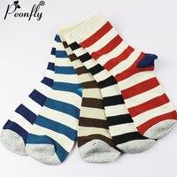 PEONFLY Sale Brand Men Winter Socks Men Male Happy Warm Cotton Socks Stripes Socks Meia Men