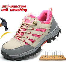 Lightweight Anti-puncture Work Safety Shoe Boots Women Shoes Woman AtreGo Anti-smashing Steel Toe Hiking Boots Shoes Sneakers