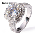 TransGems 5 Carat Lab Moissanite Wedding Halo Ring Genuine Diamond Accents Solid 14K White Gold for Women Diamond Test Positive
