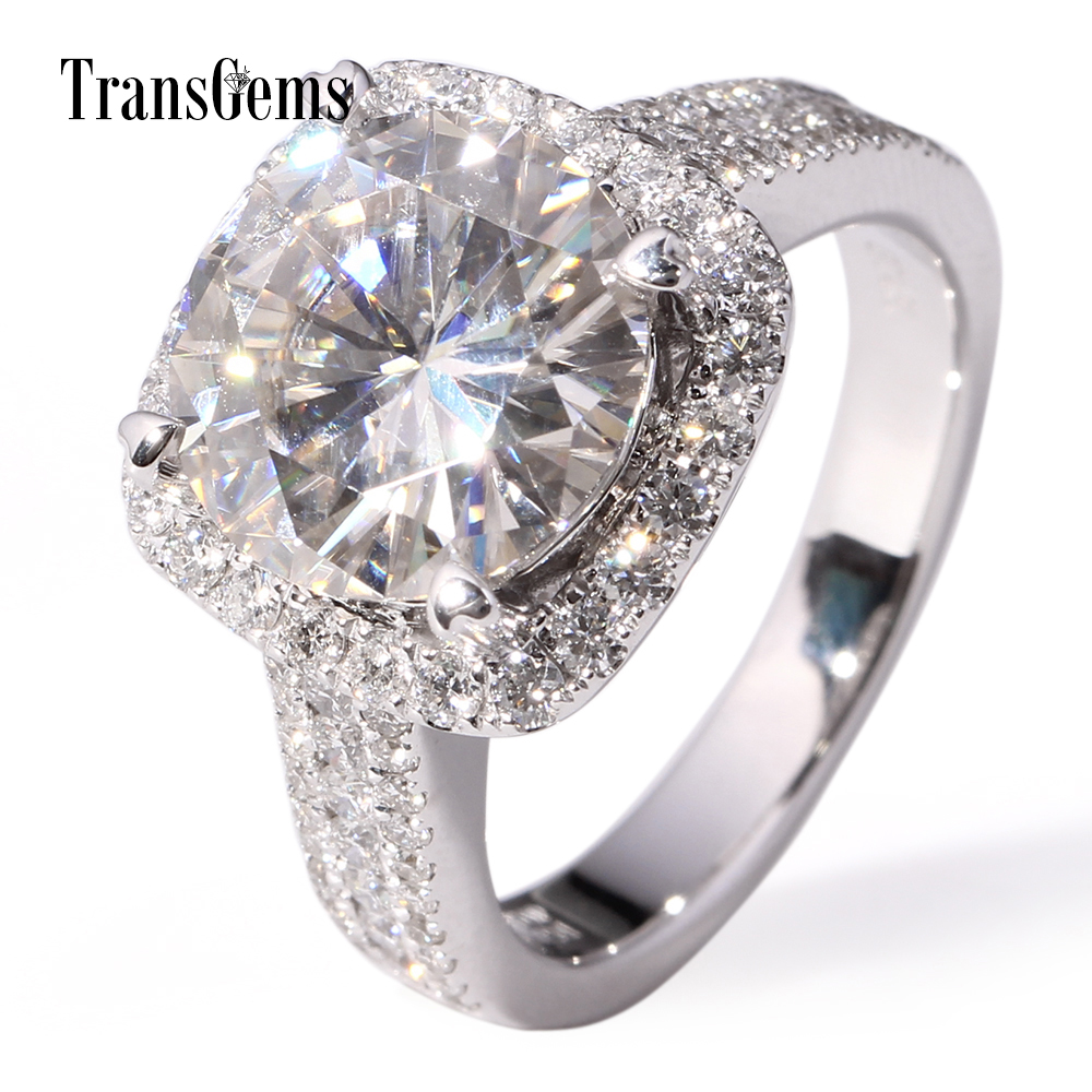 TransGems 5 Carat Lab Moissanite Wedding Halo Ring moissanite Accents Solid 14K White Gold for Women Diamond Test Positive