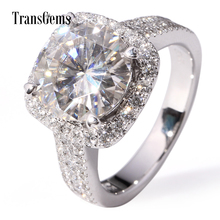 TransGems 5 Carat Lab Moissanite Wedding Halo Ring Genuine Diamond Accents Solid 14K White Gold for Women Test Positive